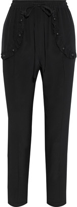 RED Valentino Ruffle-trimmed Studded Silk Crepe De Chine Tapered Pants