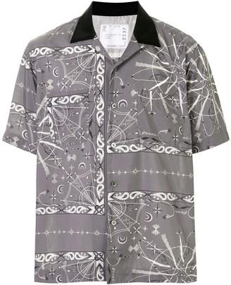 Sacai Mixed-Print Short Sleeved Shirt
