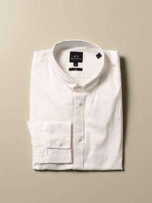 Armani Exchange Cotton Blend Shirt With Narrow Italian Collar