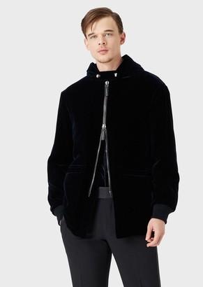 Giorgio Armani Hooded Velvet Pea Coat
