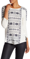 Lucky Brand Dolman Embroidered Blouse