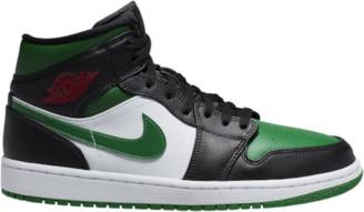 Jordan AJ 1 Mid Basketball Shoes - Black / Pine Green White Gym Red