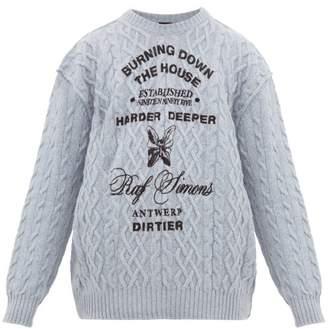 Raf Simons Logo Print Cable Knit Wool Sweater - Mens - Light Blue