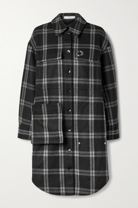 Tibi Chester Oversized Convertible Checked Wool-blend Coat - Black