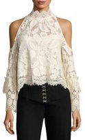 Nanette Lepore Visionary Lace Cold-Shoulder Crop Blouse