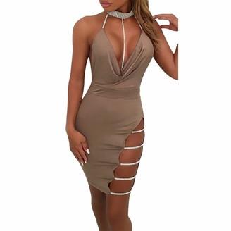 MRULIC Spring Womens Solid Sexy Deep V Neck Halter Backless Clubwear Choker Slit Sequin Bodycon Mini Dress (Black UK-12/CN-L)