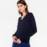 Paul Smith Women's Navy Merino Wool V-Neck Sweater With Stripe Detail