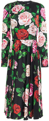 Dolce & Gabbana Pleated Floral-print Stretch-silk Satin Midi Dress