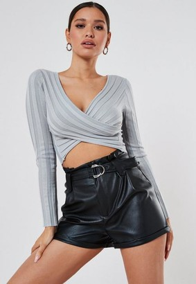 Missguided Rib Wrap Front Knit Crop Top