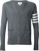 Thom Browne V-Neck Cardigan With 4-Bar Stripe In Medium Grey Merino
