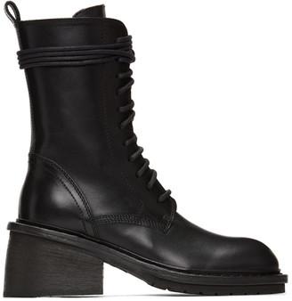 Ann Demeulemeester Black Chunky-Heel Combat Boots