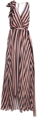 Temperley London Linden Bow-embellished Striped Silk-chiffon Maxi Dress