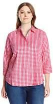 Foxcroft Women's 3/4 Sleeve Sue in Crinkle Gingham Shirt