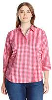 Foxcroft Women's Plus Size 3/4 Sleeve Sue in Crinkle Gingham Shirt