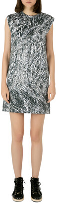 McQ Silver Foil Printed Cotton Stretch Sleeveless Shift Dress M