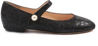 Peponita - Waltham Mary-Jane Flat in Black with Pearl Detail - EU36 (UK3)