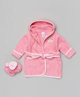SpaSilk Pink Butterfly Bathrobe & Booties - Infant