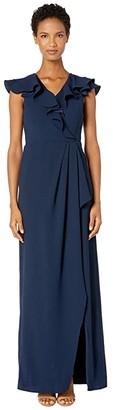 ML Monique Lhuillier Crepe Full-Length Ruffled Wrap Dress (Navy) Women's Dress