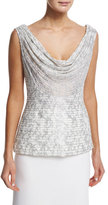 Carmen Marc Valvo Sleeveless Cowl-Neck Embroidered Top