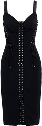 Dolce & Gabbana Lace-up Satin-trimmed Stretch-crepe Dress