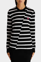 McQ NEW Distort Stripe Crew Neck Jumper Black White