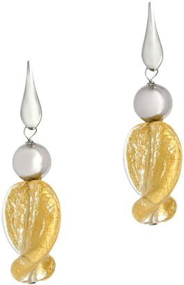 Murano Steel by Design Glass & Polished Bead Earrings