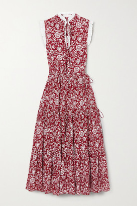 See by Chloe Broderie Anglaise-trimmed Tiered Floral-print Cotton Midi Dress - FR38