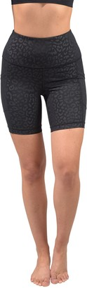 "90 Degree By Reflex Embossed High Rise Side Pocket 7"" Biker Shorts"