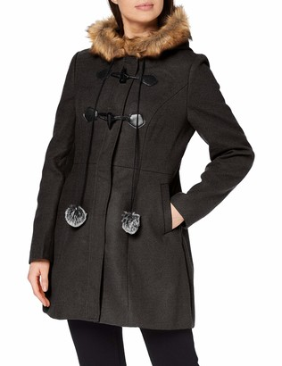 Yumi Women's Grey Duffle Coat with Fur Trim Pom 14