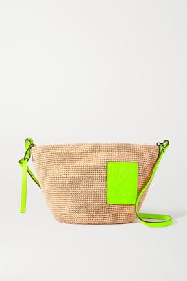 Loewe + Paula's Ibiza Pouchette Leather-trimmed Woven Raffia Shoulder Bag - Sand