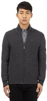 Ben Sherman Big And Tall Grey Cable Knit Zip Through Sweater