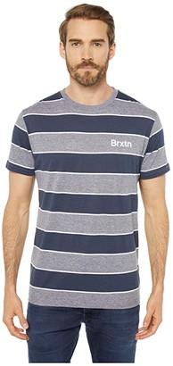 Brixton Hilt Print Short Sleeve Knit (Heather Grey/Washed Navy) Men's Clothing