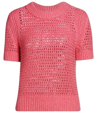 Akris Punto Mesh Wool-Blend Knit Pullover
