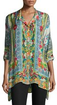 Johnny Was Karino Button-Front Silk Printed Blouse