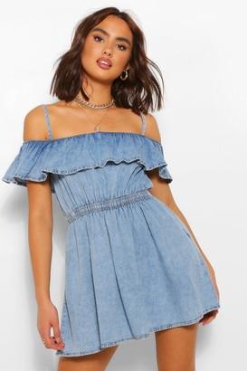boohoo Strappy Frill Denim Smock Dress