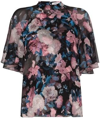 Erdem Bennett floral flowy sleeve top