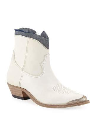Golden Goose Young Denim-Ankle Leather Boots