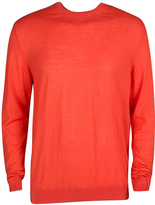 Ermenegildo Zegna Blood Orange Wool Long Sleeve Sweater XL