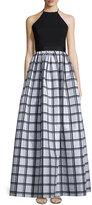 Aidan Mattox Sleeveless Gingham Combo Gown, Black/Silver