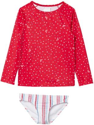 Roxy Lake of Stars Long Sleeve Rashguard & Bottoms Swimsuit Set
