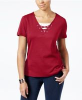 Karen Scott Cotton Lace-Up Layered-Look Top, Only at Macy's