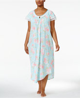 Charter Club Plus Size Lace-Trimmed Printed Cotton Nightgown, Only at Macy's