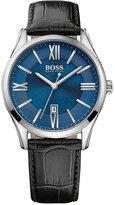 BOSS Men's Ambassador Black Leather Strap Watch 43mm 1513386
