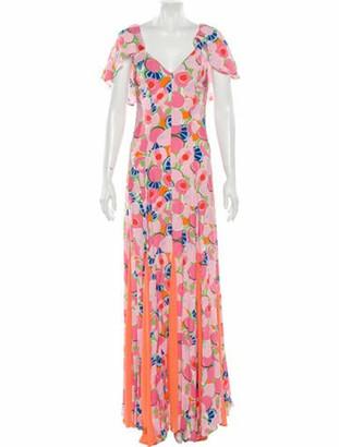 STAUD Printed Long Dress w/ Tags Pink
