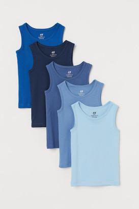 H&M 5-pack Cotton Tank Tops - Blue