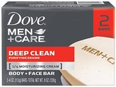 Dove Deep Clean Body and Face Bar Soap Men by Dove, 2 Count
