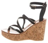 K Jacques St Tropez Leather Platform Wedge Sandals