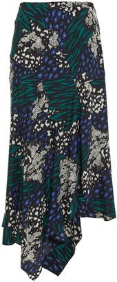 Veronica Beard Mac Asymmetric Printed Silk-blend Skirt