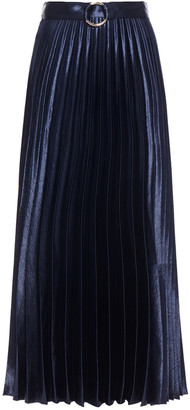 Sandro Belted Pleated Satin-crepe Midi Skirt