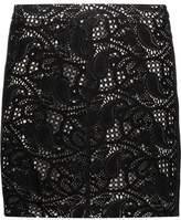 Haute Hippie Paisley Laser-Cut Suede Mini Skirt
